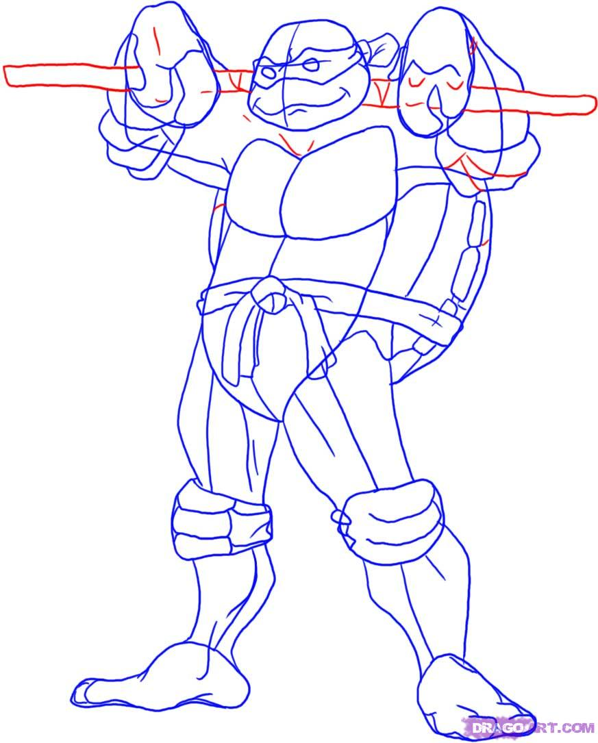 How to draw Donatello from TMNT (5)