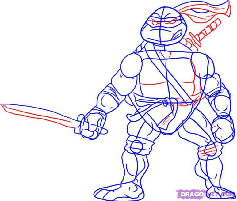 How to draw Leonardo from TMNT (4)