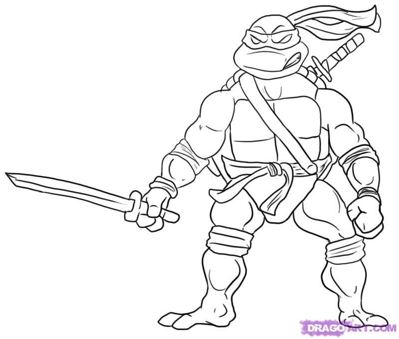 How to draw Leonardo from TMNT (5)