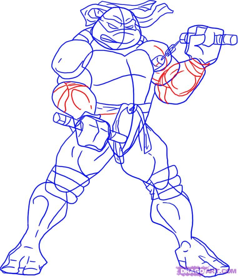 How to draw Michaelangelo from TMNT (4)