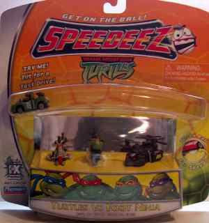 Speedeez Foot Ninja Set (Battle Shell, Foot Soldier on Razor Jet, Leo on Shell Cycle and Foot Helicopter) in box