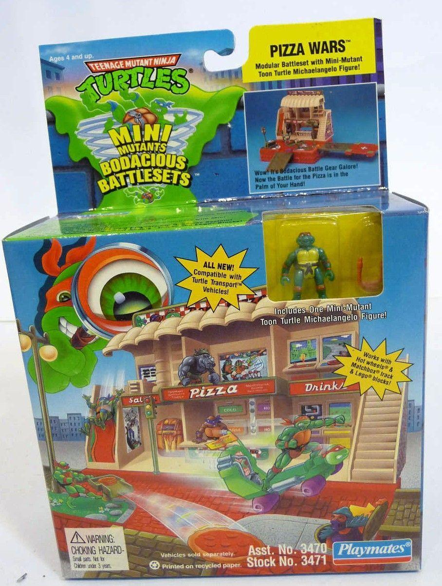 Pizza Wars Playset (Modular Battleset with Mini-Mutant Toon Turtle Michaelangelo Figure!) in box