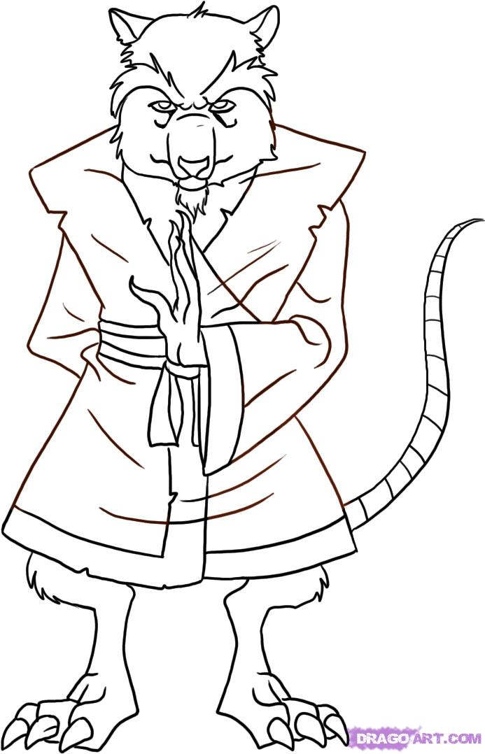 How to draw Splinter from TMNT (6)