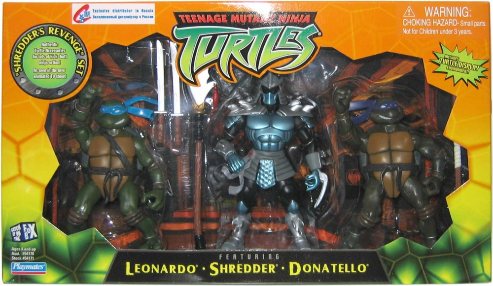 Shredder's Revenge Set (Leonardo, Shredder, Donatello) in box