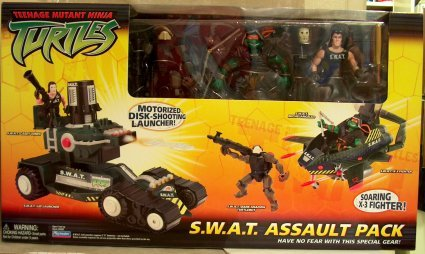 S.W.A.T. Assault Pack: S.W.A.T. Michelangelo, Dark Shadow Turtlebot, S.W.A.T. Casey Jones (boxed)