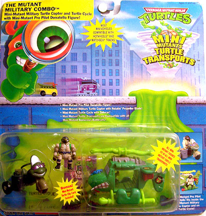 The Mutant Military Combo. Mini-Mutant Military Turtle Copter and Turtle Cycle with Mini-Mutant Pro Pilot Donatello Figure! (boxed)