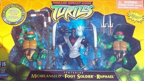 Turtle Takedown Set. Michelangelo, Foot Soldier, Raphael (boxed)