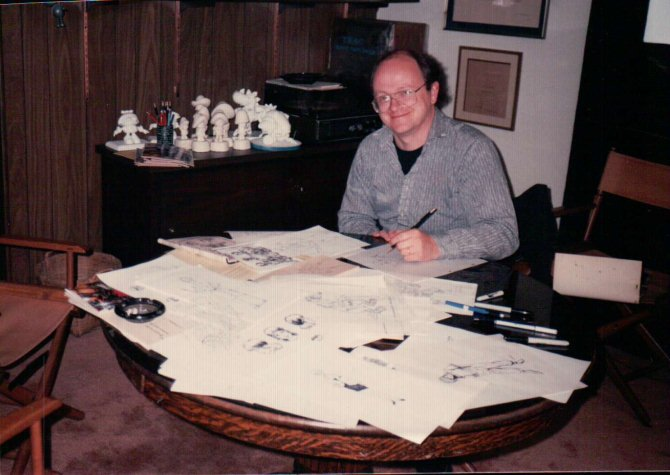 Peter-Laird-at-Fred-Wolf's-office-1987-0r-1986.jpg