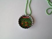 Teenage Muntant Ninja Turtle Bottle Cap Necklace Green Ball Chain.jpg