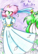 Эми и Космо из Sonic X прикиньте, я и их рисовать умею xDD  - сканирование0053 2.JPG