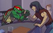 Зарубежный Фан-Арт - Raph_vs_Casey_in_epic_battle__by_sneefee.jpg