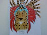 то ли шаман в ритуальной маске превратился в ягуара,то ли просто ягуар в маске ,на создание этого рисунка вдохновил документальный фильм про индейцев Майя Духи Ягуара  - Photo-0415 (2).jpg