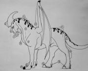 Степной: 1 Высоко поднятый гребень. 2 Короткая шея. 3 Хорошо развитая мускулатура передних конечностей 4 Мощные задние конечности. 5 Хвост средней длинны. 6 Короткая мордочка. 7 Острый клюв. 8 Передние конечности приспособлены для бега, поэтому ,кажется, что стоит будто на носочках 9 «Щётки» над копытами. 10 Сильные мышцы крыльев способны поднять животное в воздух. 11 «Шишки» или же гребни от 4-5 идущие вдоль шеи. 12 Крепкие копыта, удар которых способен сломать кости или же пробить череп. 13 Когти тупые, обычно стачиваются при ходьбе. 14 Кожа, свисающая под шеей , является украшением самца ,собственно как и гребень на голове. 15 Узор. Высота в холке: 193см в длину 8 м самцы 189см в холке в длину 6,5 -7 м самки ; вес 1,5 тонны самцы ,898 кг самки . Крылья у самцов крепкие, но плохо развиты для полётов в небе, низкий уровень манёвренности в воздухе. Размах крыльев равен 10 метров. При беге самцы способны развивать скорость до 70 км\ч, самки до 78 км\ч. Живут стаей от 6-7 особей, которую возглавляет один самец. Охотятся в основном самки. Самцы яростно защищают свою территорию и самок. По своему нраву очень спокойны и терпеливы по отношению к людям, однако приручить таких созданий довольно тяжёлый труд. - DSCN2201.JPG