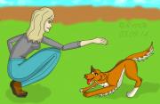 Капля искусства - Girl-trains-a-dog.png