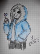 Это Санс, один из персонажей игры. Любит шутки и каламбуры Весьма милый, верно  - 2JFjVGs9Q9c.jpg