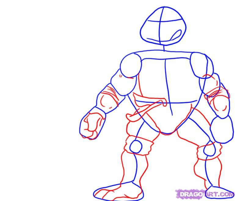 How to draw Leonardo from TMNT (2)