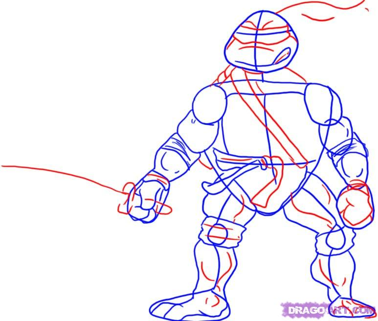 How to draw Leonardo from TMNT (3)