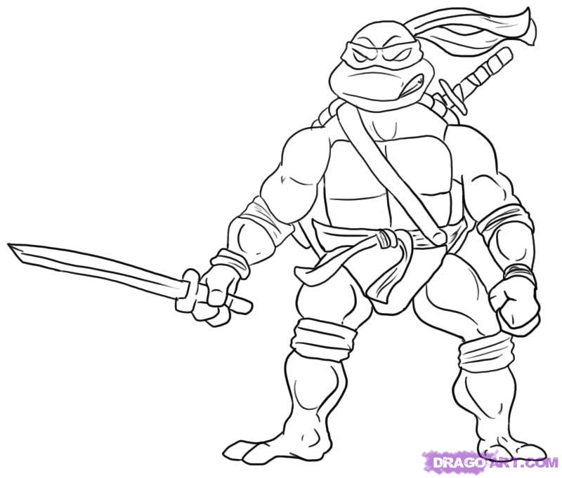 How to draw Leonardo from TMNT (5)