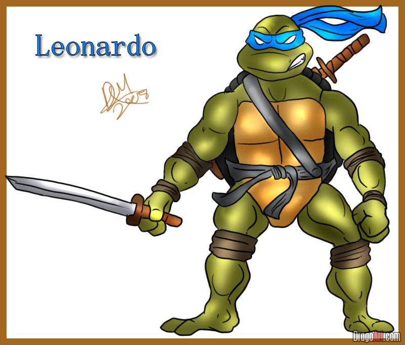 How to draw Leonardo from TMNT (6)