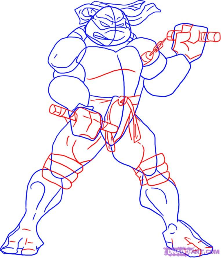 How to draw Michaelangelo from TMNT (3)