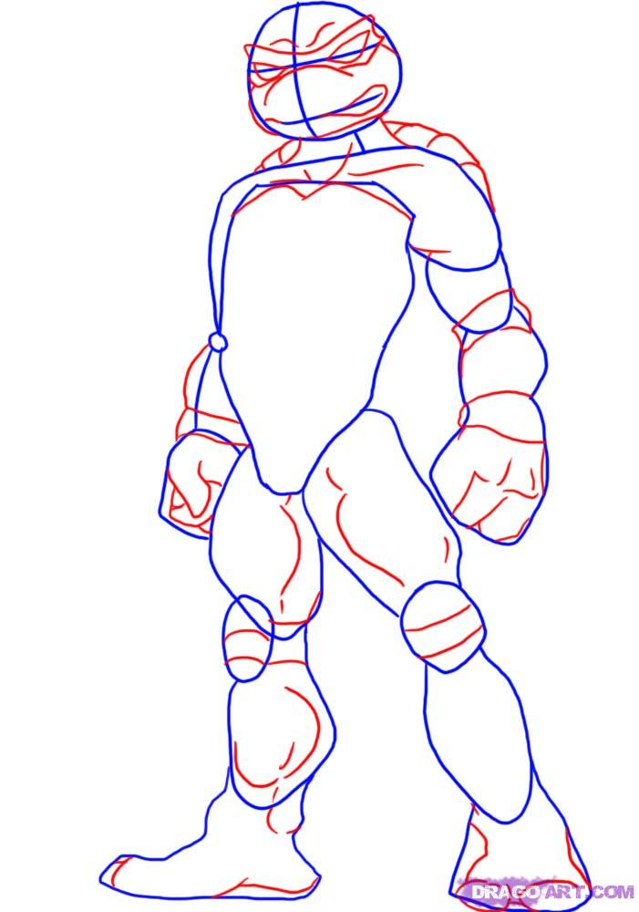 How to draw Raphael from TMNT (2)