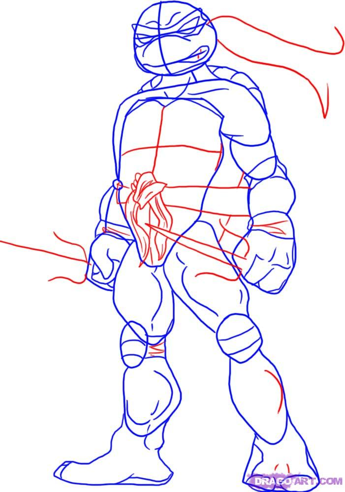 How to draw Raphael from TMNT (3)