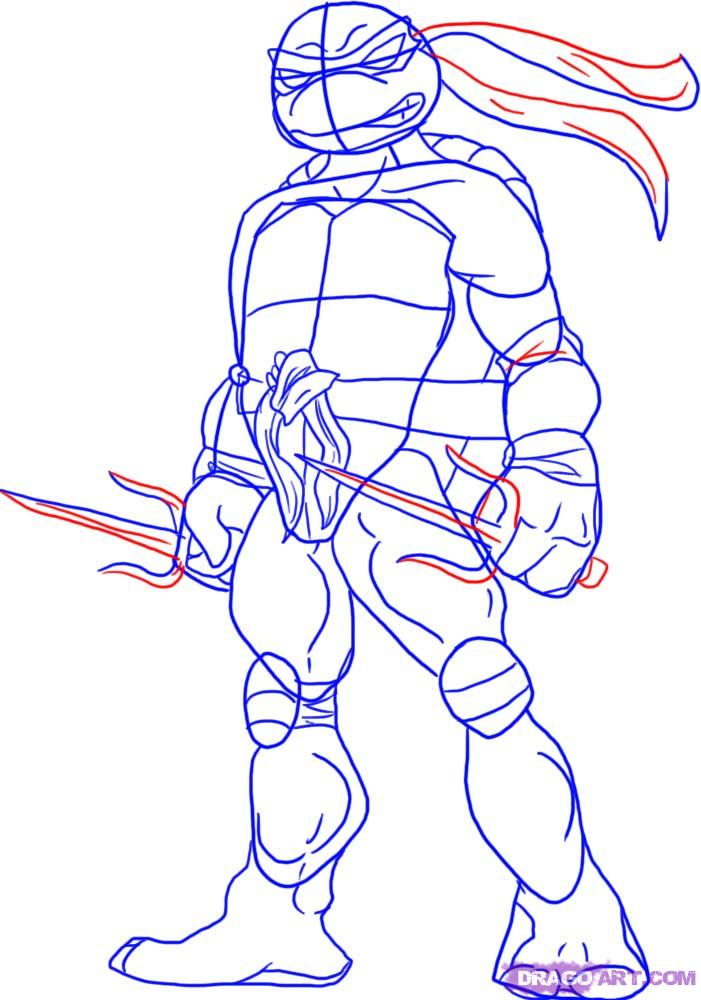 How to draw Raphael from TMNT (4)