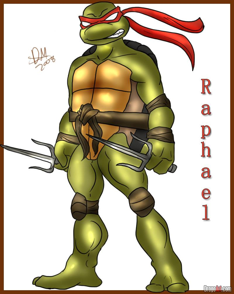 How to draw Raphael from TMNT (6)