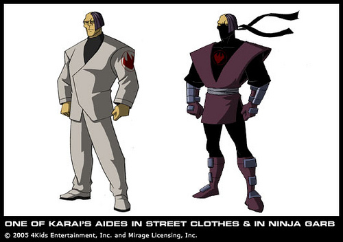 One of Karai's aides in street clothes& in ninja garb