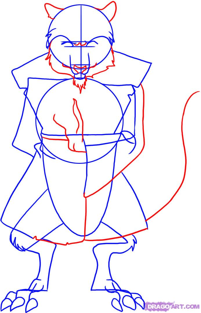 How to draw Splinter from TMNT (3)