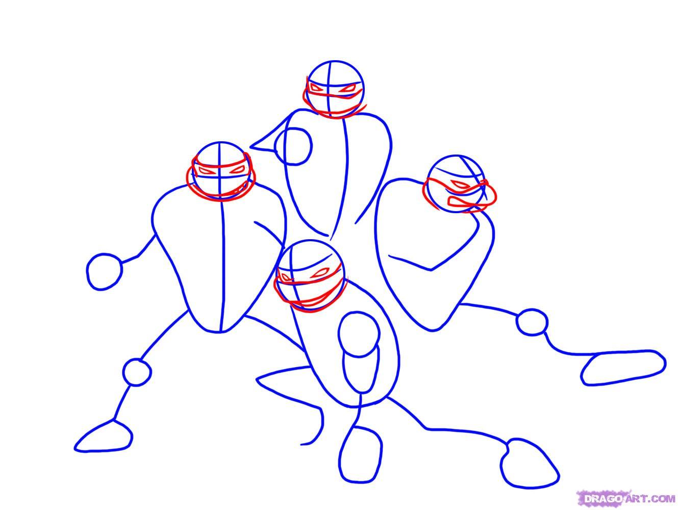 Как нарисовать Черепашек Ниндзя из TMNT 2007 (2)