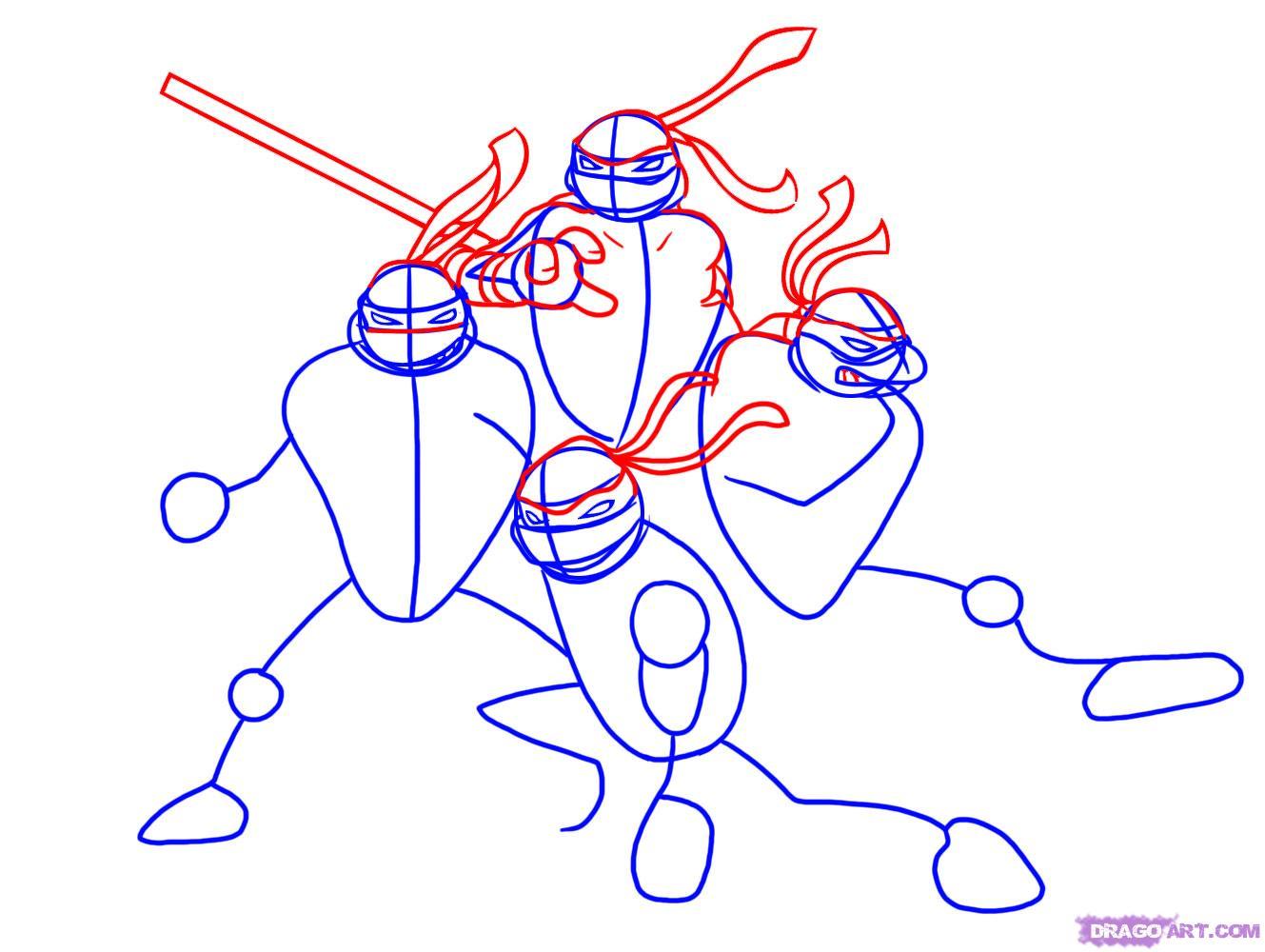 Как нарисовать Черепашек Ниндзя из TMNT 2007 (3)