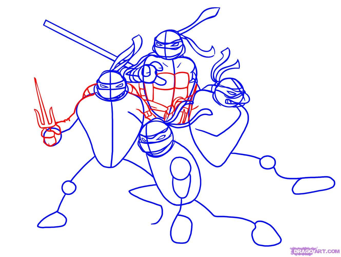 Как нарисовать Черепашек Ниндзя из TMNT 2007 (4)