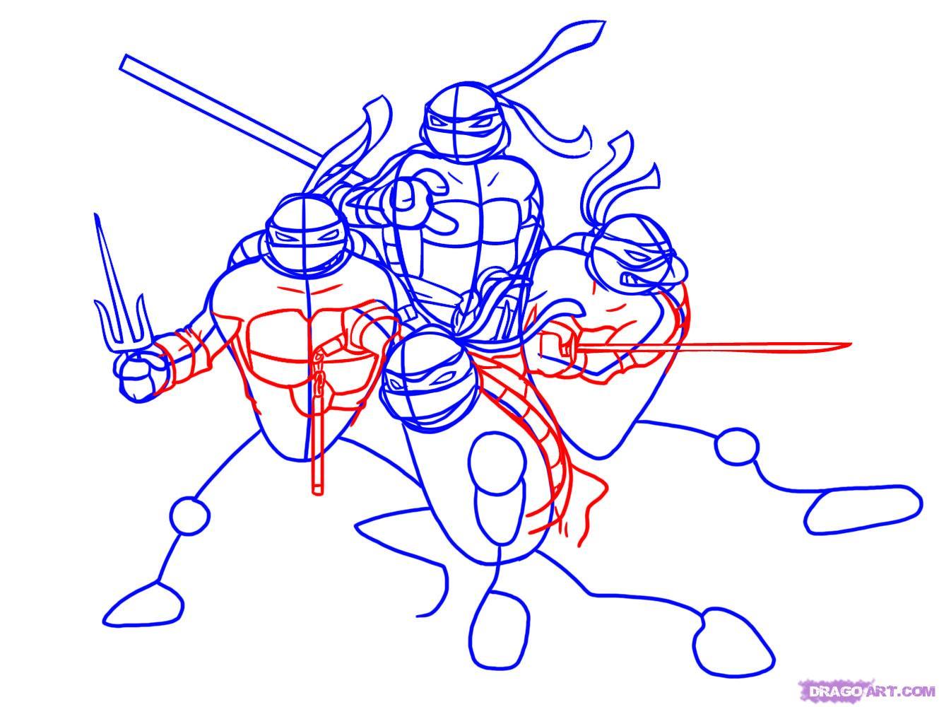 Как нарисовать Черепашек Ниндзя из TMNT 2007 (5)