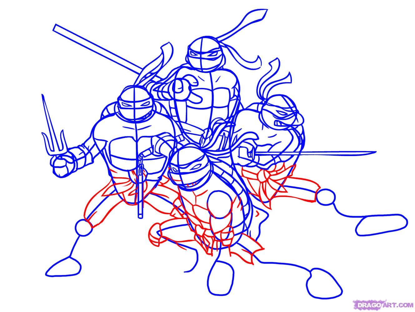 Как нарисовать Черепашек Ниндзя из TMNT 2007 (6)