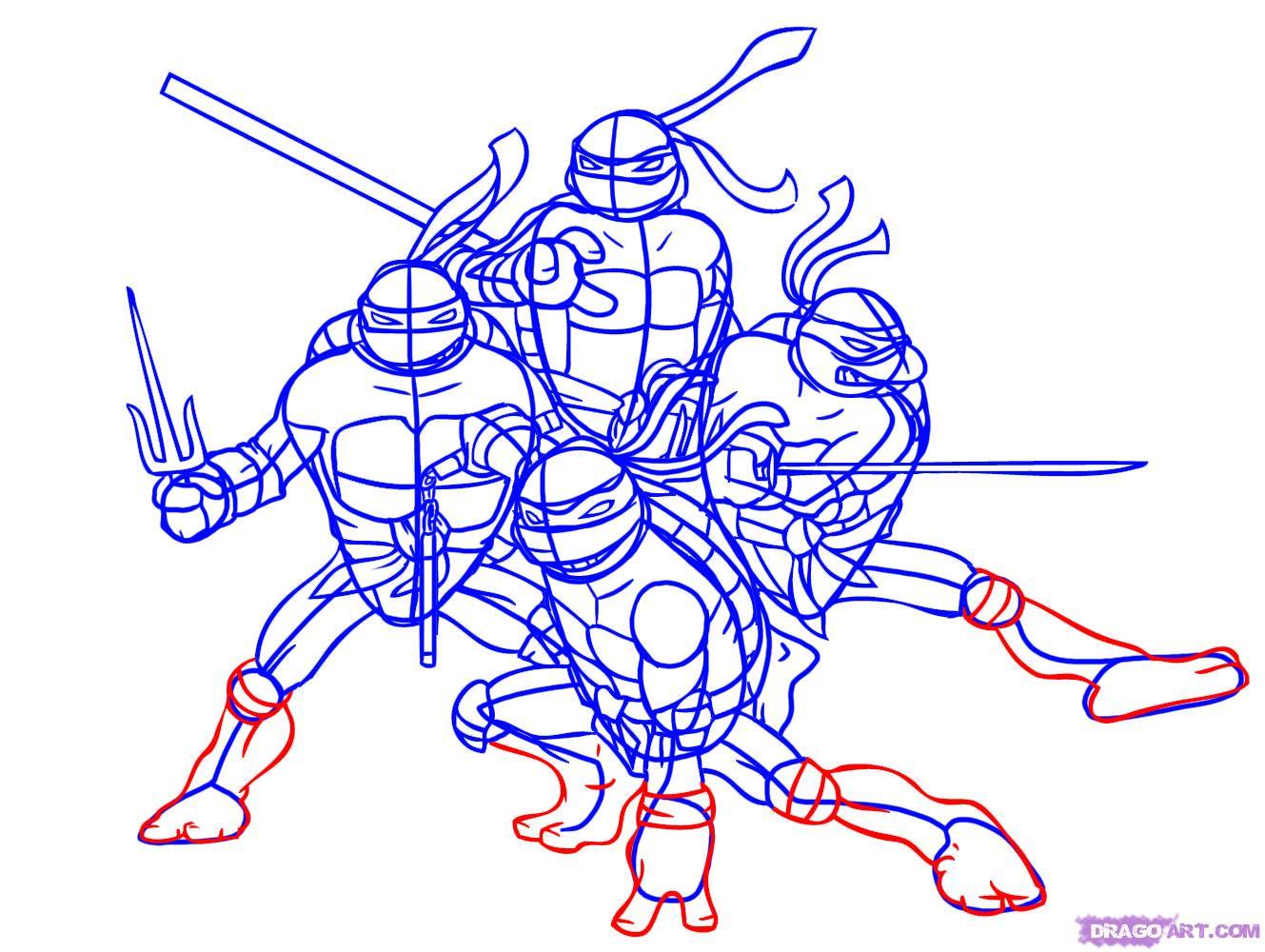 Как нарисовать Черепашек Ниндзя из TMNT 2007 (7)