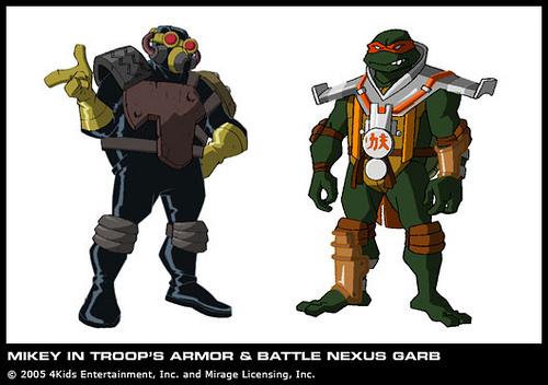 Mikey in Troop's armor & Battle Nexus Garb
