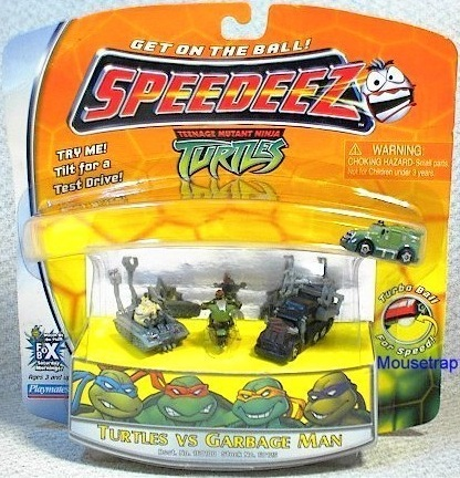 Speedeez Garbage Man Set (Battle Shell, the Garbageman, Raph on the Shell Cycle and a Robotic Garbage Truck) boxed