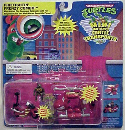 Firefightin' Frenzy Combo. Mini-Mutant Fire Command Helicopter with Fire Response Cycle and Mini-Mutant Donatello Figure! (boxed)
