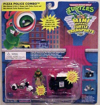 Pizza Police Combo (Mini-Mutant S.W.A.T. Wagon with Police Cycle and Mini-Mutant Turtle Raphael Figure!) boxed