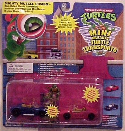 Mighty Muscle Combo. Mini Mutant Classic Convertible, American Convertible and Mini Mutant Original Movie Donatello (boxed)