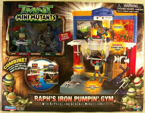 Mini-Mutants. Raph's Iron Pumpin' Gym with Raphael and General Mono (boxed)